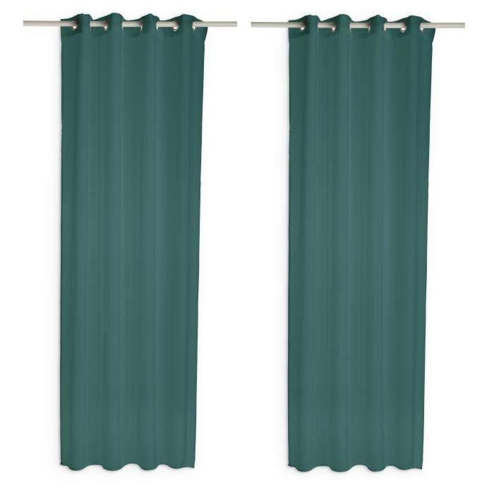 TODAY Paire de voilages - 135 x 240 cm - Vert émeraude