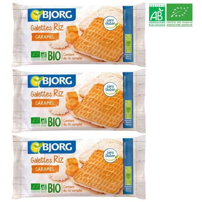[LOT DE 3] BJORG Fines Galettes de Riz Caramel Bio 90g