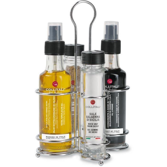 COLLITALI DORICA huilier spray 4 pièces : huile olive, vinaigre balsamique Modène 2 x 100 ml - sel 21 g, poivre 9 g