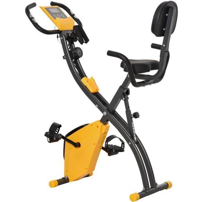 Vélo d'appartement jaune pliant 8 niveaux de résistance magnétique dossier selle réglable poignées ergonomiques écran LCD.