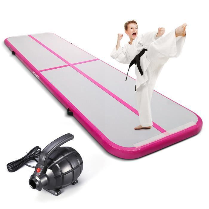 KUOKEL Tapis de gymnastique gonflable avec pompe électrique à gonfleur matériau PVC imperméable Taille 3m x 1m