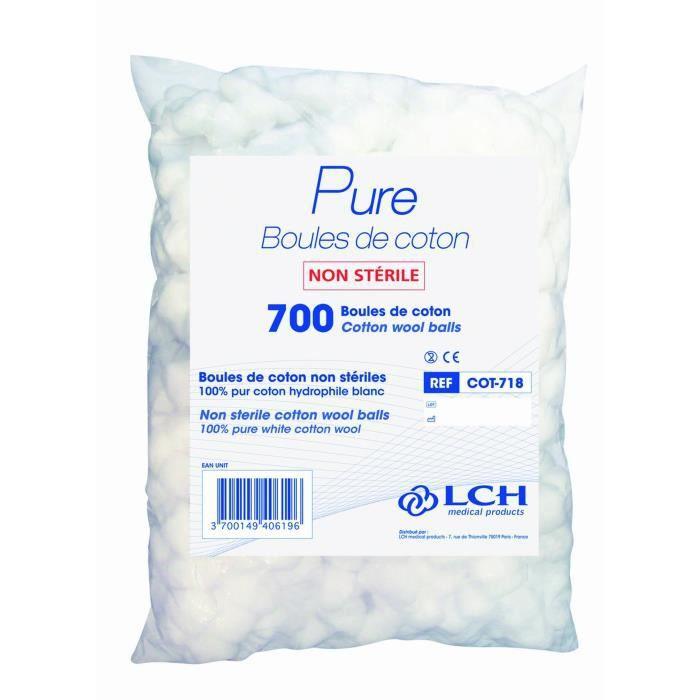 Lot de 18 sachets de 700 boules de Coton hydrophile (12600 boules de coton)