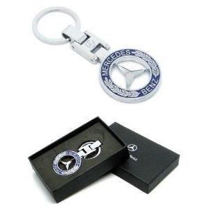 Marques Nouveaux Mercedes Benz avec boîte-cadeau de voiture Porte-clés Porte-clés Métal Chrome