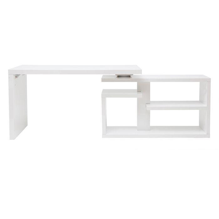 Miliboo - Bureau design pivotant laqué blanc brillant L140 cm HALTON