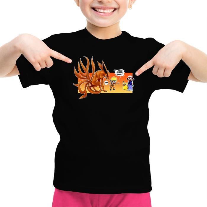 T-shirt Enfant Fille Noir Naruto - Pokémon parodique Naruto et Kyubi X Sasha et Pikachu : Un nouveau dresseur... (Parodie Naruto - P