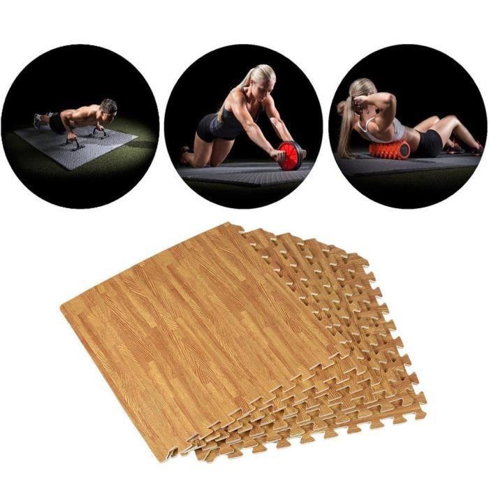 Lot de 24 tapis emboîtables en mousse EVA effet sol pour salle de sport, entraînement à la maison 60*60*1.2CM