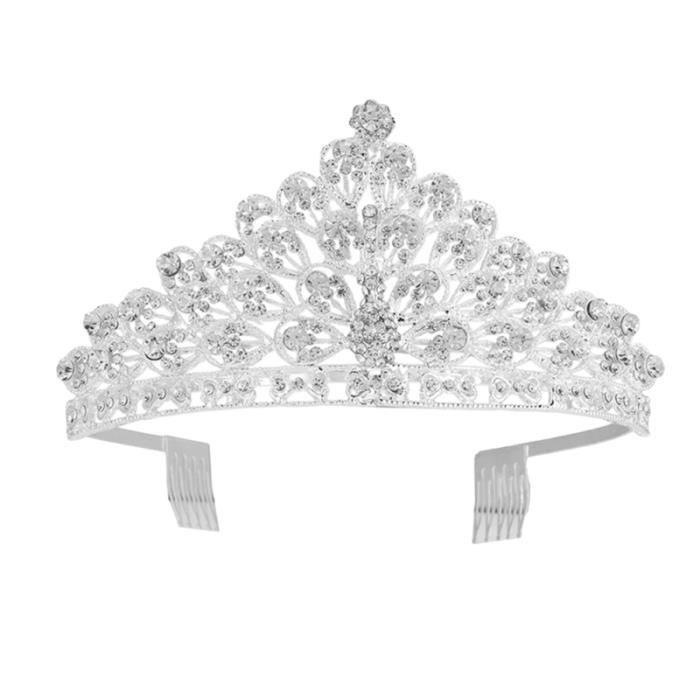 1 PC mariée mariage peigne couronne Festival alliage paon coréen strass tête décor ornement BROSSE MANUELLE - PEIGNE