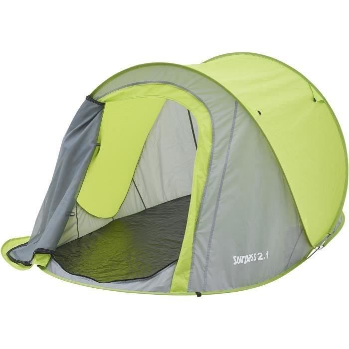 Tente de camping pop up 2 places SURPASS SURPTENT202 Vert et Gris