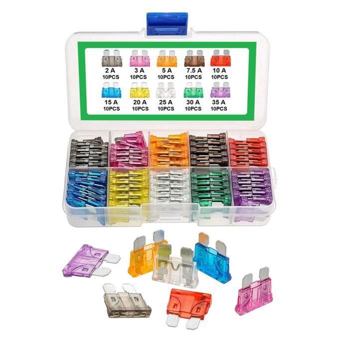 100 pièces-Voiture Lame Fusibles Assortiment Kit, automobile Fusibles-Standard (2A/ 3A/ 5A/ 7.5A/ 10A/ 15A/ 20A/ 25A/ 30A/ 35A),