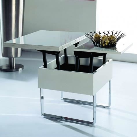 table basse multifonction laqu blanche relevable achat vente table basse table basse. Black Bedroom Furniture Sets. Home Design Ideas