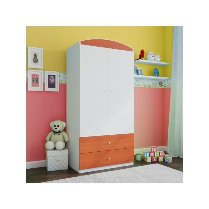 armoire enfant 2 tiroirs brun rouge achat vente. Black Bedroom Furniture Sets. Home Design Ideas