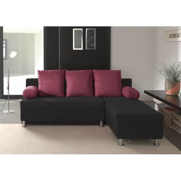 canap d 39 angle convertible noir prune polo achat vente canap sofa divan cdiscount. Black Bedroom Furniture Sets. Home Design Ideas