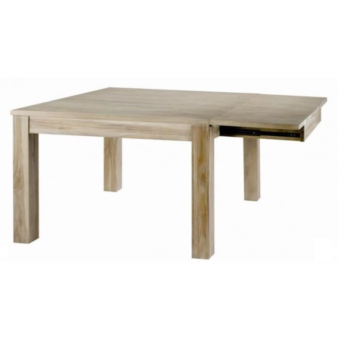 Table carr e avec allonge teck massif blanchi univers for Table a manger avec allonges