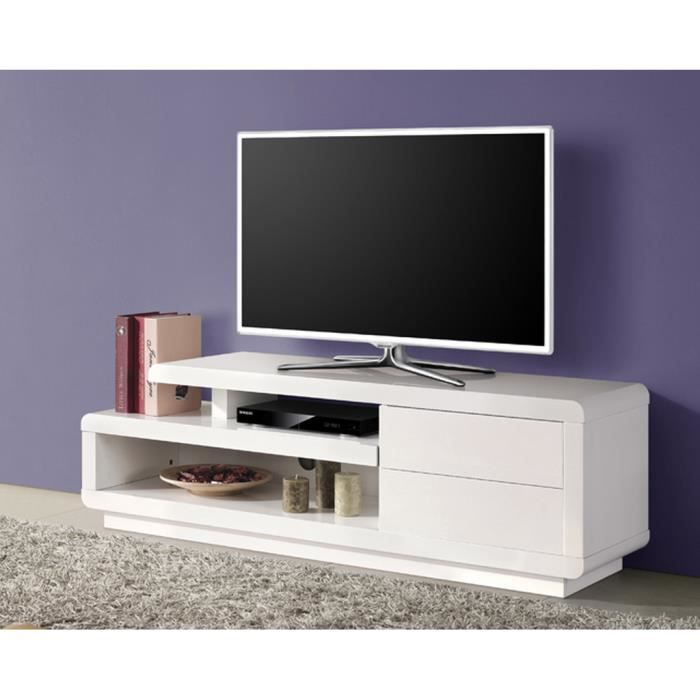 meuble tv bas design blanc laqu 2 tiroirs achat. Black Bedroom Furniture Sets. Home Design Ideas