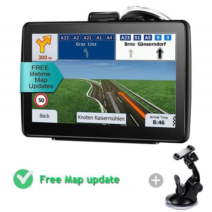 FLOUREON GPS Voiture Auto 7 Pouces LCD /Écran Tactile Navigation Europe Cartes Mise /à Jour Gratuite /à Vie 8G Int/égr/é