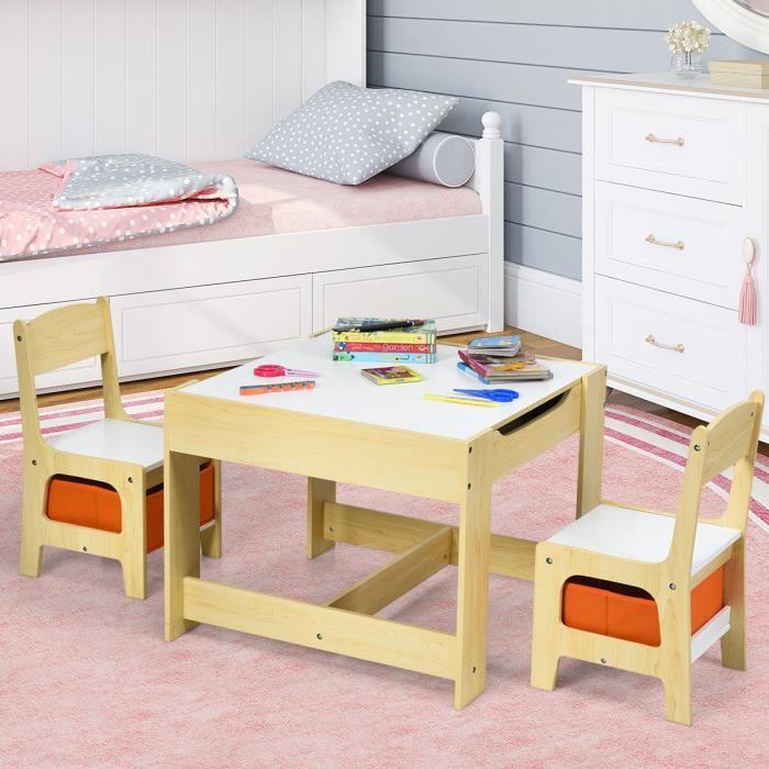 Costway Ensemble Table Et 2 Chaises En Bois Pour Enfant Table D Activité Pour Chambre D Enfants Avec Espace De Rangement