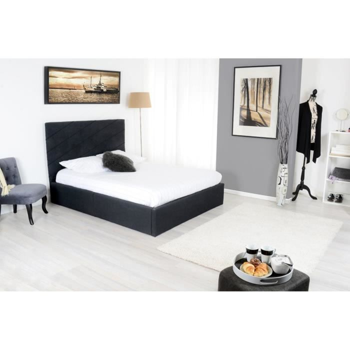 lit coffre avec sommier tissu 160 x 200 cm gris rakil. Black Bedroom Furniture Sets. Home Design Ideas