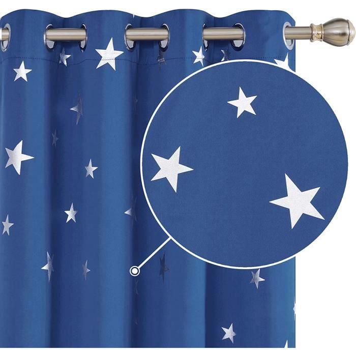 Deconovo Lot de 2 Rideaux Salon Occultants Rideaux Motif Etoile Argent/é Isolant Thermique /à oeillet 117x138cm Turquoise