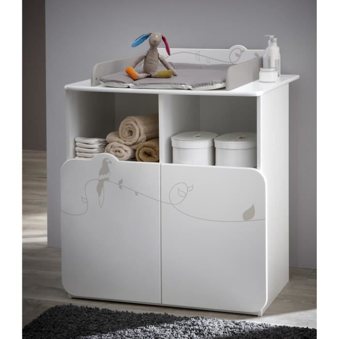 jungle commode table langer 70x55cm blanc et taupe achat vente table langer. Black Bedroom Furniture Sets. Home Design Ideas