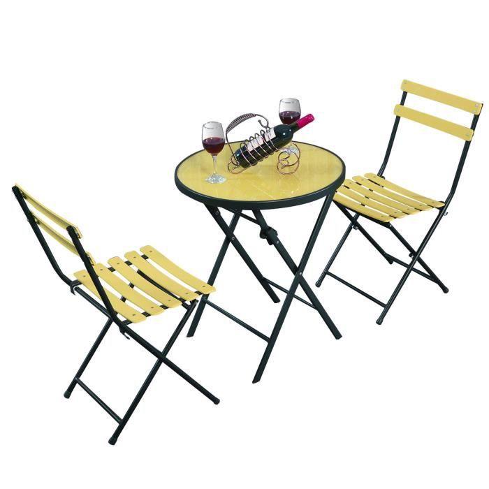 Salon de jardin pliable table et 2 chaises de jardin en fer ...