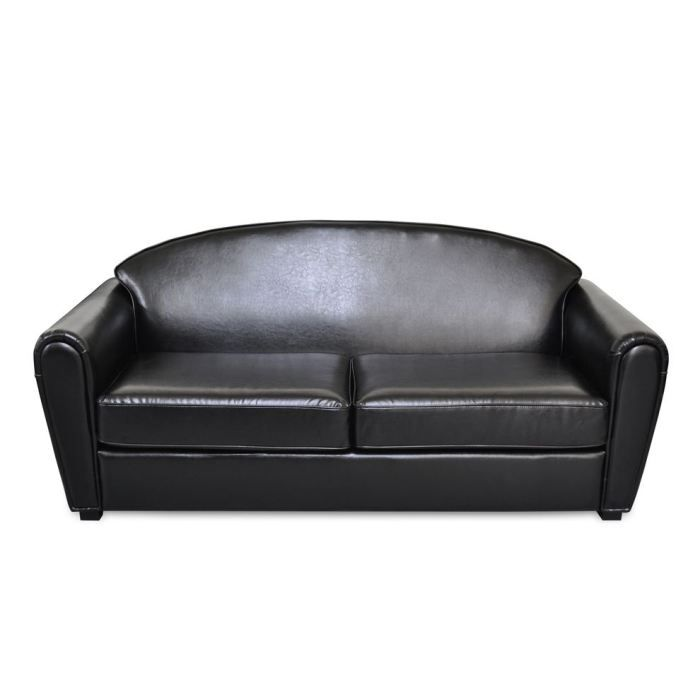 oxford canap club en pu noir achat vente canap sofa divan soldes d t cdiscount. Black Bedroom Furniture Sets. Home Design Ideas