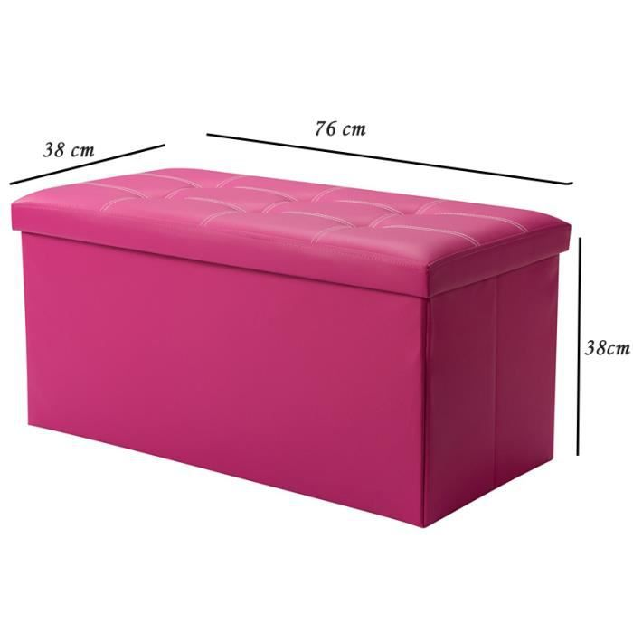 rose grand pouf coffre de rangement pliable cuir simili cube repose pieds de stockage 76 cm x 38. Black Bedroom Furniture Sets. Home Design Ideas