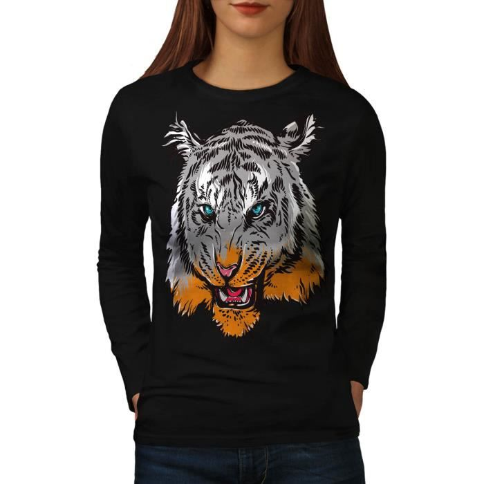 T-SHIRT tigre Tête Visage Animal Women  T-shirt à manches