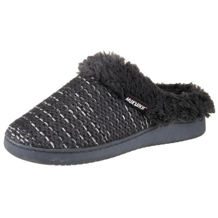 Knit Clog Slipper With Faux Fur Trim RL21F Taille-36