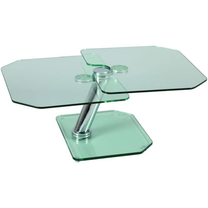 Table basse verre pied et plateau en verre tremp support - Table basse plateau en verre ...