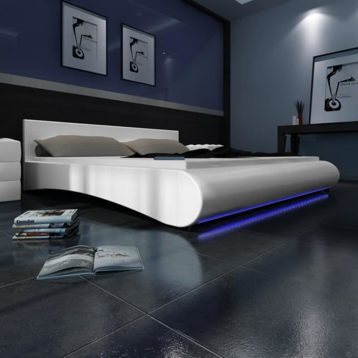 lit avec t te de lit led 140 200 cm blanc achat. Black Bedroom Furniture Sets. Home Design Ideas