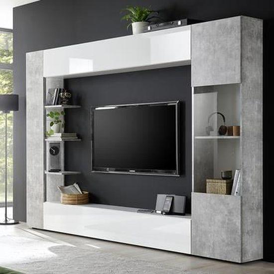 Meuble Tv Mural Blanc Et Gris Design Fino 2 Gris L 257 X P 30 X H 187 Cm Achat Vente Meuble Tv Meuble Tv Mural Blanc Et Gris Cdiscount