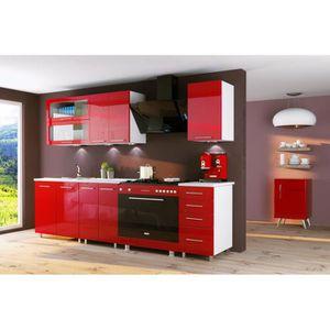 CUISINE COMPLÈTE Cuisine rouge laquée INFINITY 6 éléments 1m80 DUSI