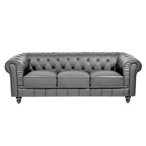 Canap cuir gris achat vente canap cuir gris pas cher cdiscount - Canape chesterfield cuir gris ...