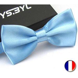 CRAVATE - NŒUD PAPILLON Noeud Papillon Pour Homme-Satin Bleu Ciel -Double
