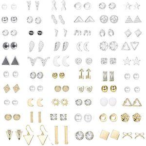 YADOCA 60 Paires Lot Boucles dOreilles Multiples Femme Fille Vintage Clou dOreille G/éom/étrique Perle Boule Ronde Boucles dOreilles