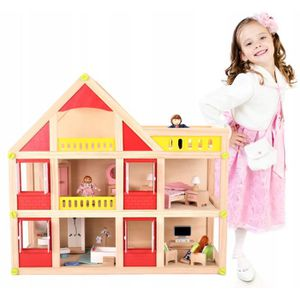 MAISON POUPÉE Dodo Toys Grande Maison en Bois pour Poupées 55 x
