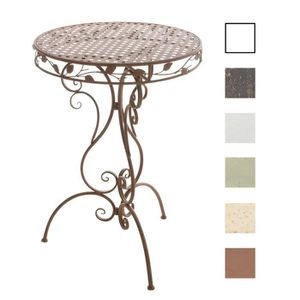 Table haute fer forge achat vente table haute fer for Table ronde verre fer forge