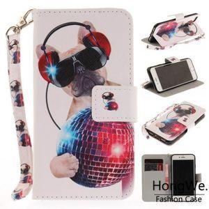 HOUSSE - ÉTUI Pour Apple iPhone 7-8 Chien de mode Peint Clapet A