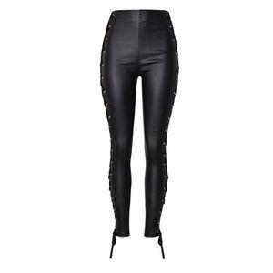 PANTALON Pantalon en cuir femme slim taille haute mode élas