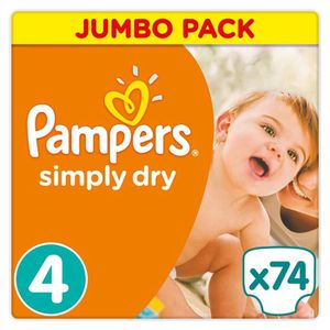 COUCHE PAMPERS Simply Dry Taille 4 - 7 à 18kg - 74 couche