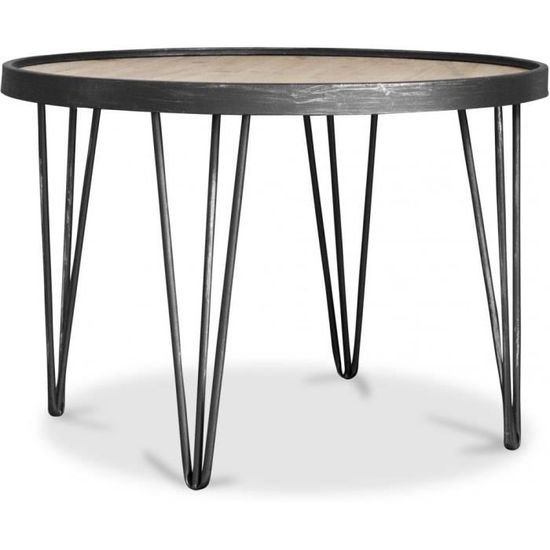 Table Basse Ronde Hairpin Bois Naturel Achat Vente Table Basse