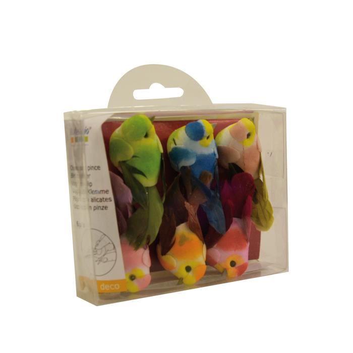 Mini oiseaux décoratifs (sur pince) - 6 pièces ...