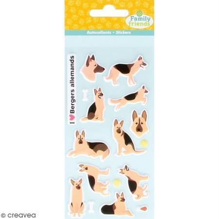 Stickers Puffies Family friends - Berger allemand - 17 autocollants Stickers relief Puffies-nbsp : hème : chiensMotifs: Berger