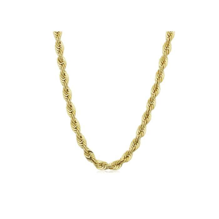 collier de chaîne de corde en argent sterling 3.2mm diamant coupé en plaqué or 18k en Italie? 1TCEWT