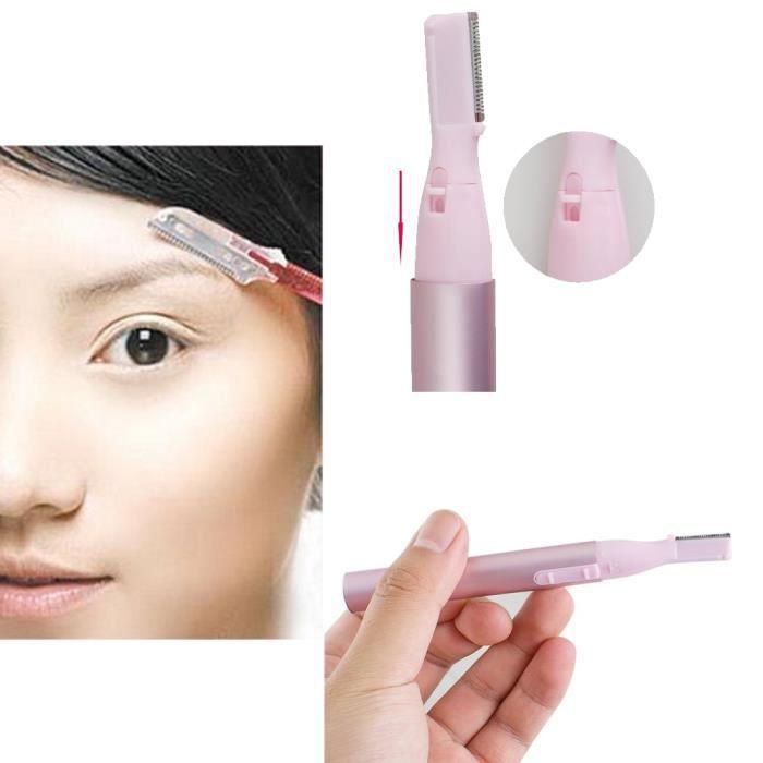 ligne tondeuse rasoir électrique portatif sourcil face à corps de femme.