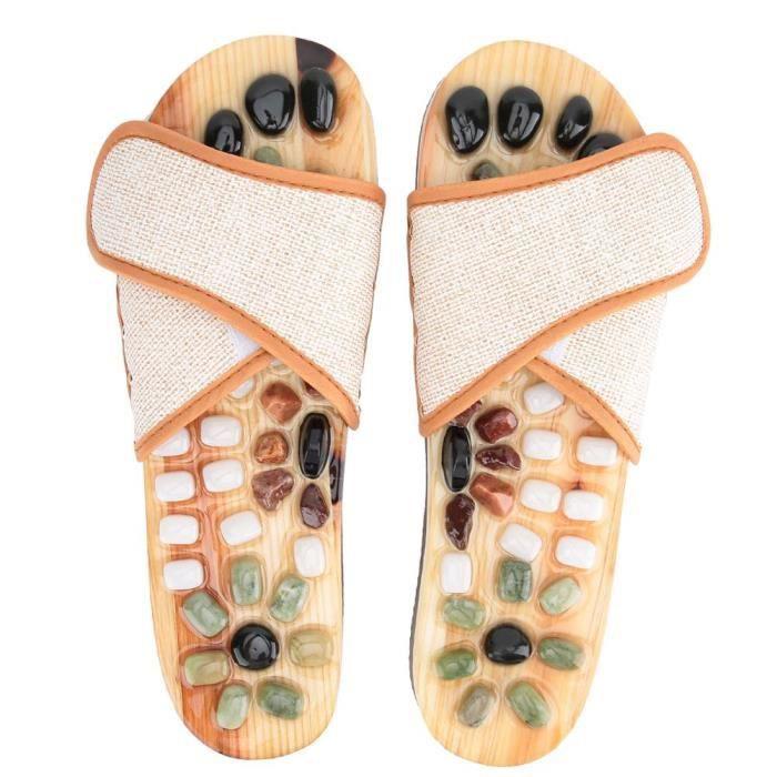Chaussons de massage des pieds - Chaussons de soins de santé - Chausson de massage aux galets - kaki (43) -JIA
