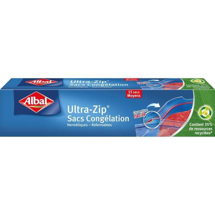 ALBAL Boîte de 15 sacs Ultra Zip - 27 x 28 cm - MM