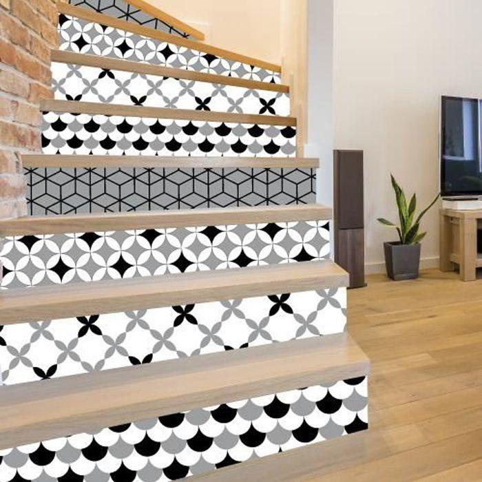 Adhesif contremarche lot de 4 - SLATEGREY - Adhesif pour escalier - Dimensions 1m x 17 cm