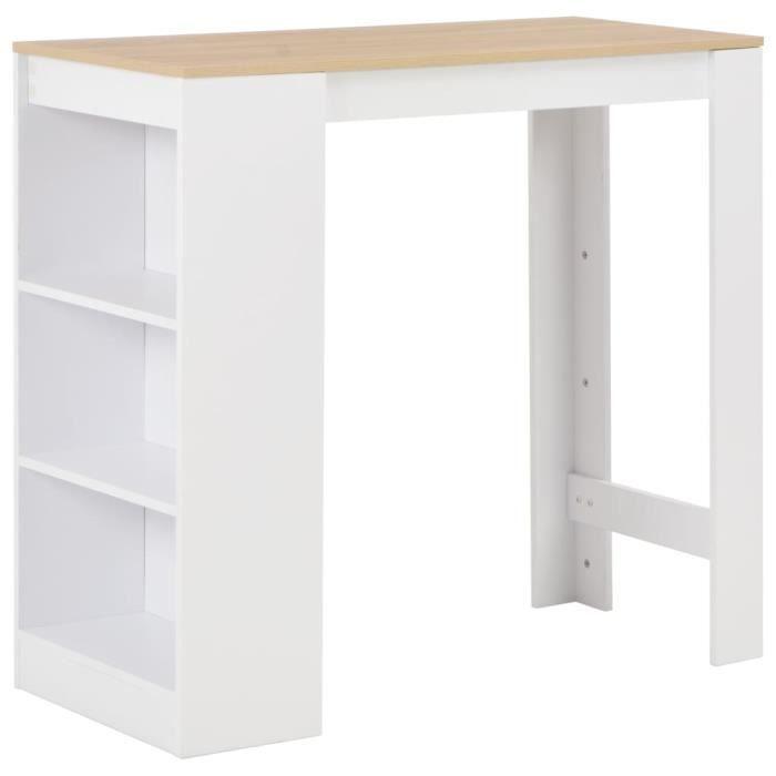 -4431PRIME Table de Bar Haute 2 à 4 personnes Table de Comptoir-Table de Bar Extérieur-Mange-debout Cuisine avec étagère Blanc 110x5