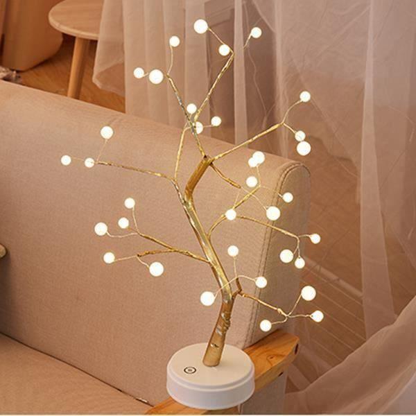 Arbre Lumineux LED Lampe, Simulation d'arbre À LED Ligne De Lumière De Lampe en Cuivre, Lampe De Nuit À Double Usage avec Batterie